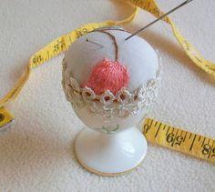 Pincushion Vintage English Bone China Egg Cup by sammysgrammy, $15.00