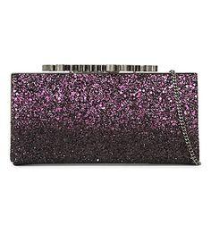 JIMMY CHOO Celeste glitter logo clutch. #jimmychoo #bags #clutch #shoulder bags #crystal #lining #hand bags #glitter #