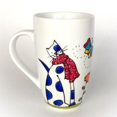 Pour les amoureux des chats - Tasse en porcelaine chat - mon chat d'amour / peint à la main par l'artiste peintre du Québec Isabelle Malo Cadeau pour l'amour, l'amitié...Handmade ceramic painting - cat coffee cup - friendship