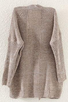 Pockets Collarless Long Sleeve Cardigan