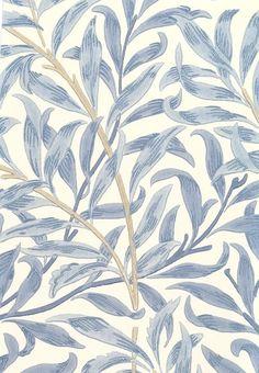 Willow Boughs Wallpaper Climbing willow leaf print wallpaper blue on cream