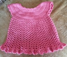 Little Sweetie Dress, made in Red Heart Soft Baby Steps