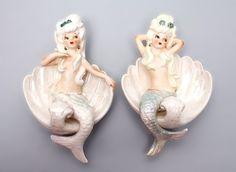 Vintage pair of wall mermaids