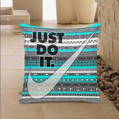 Just Do It Nike Aztec Pillow Cover Throw Pillowcase 16x16 18x18 inches #Handmade #TwinSides