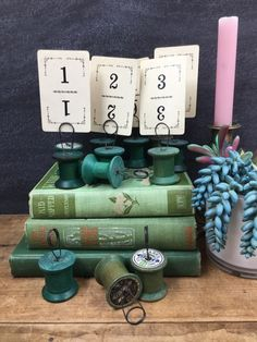Table Numbers and Holders 12 Green Wooden Spool Holders Rustic Country Wedding Wedding Table Number Holders, Wedding Table Numbers, Spool Holder, Wooden Spools, Rustic, Country, Green, Country Primitive, Rural Area