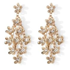 Niecy Nash Collection Clear Crystal Goldtone Flower Drop Earrings
