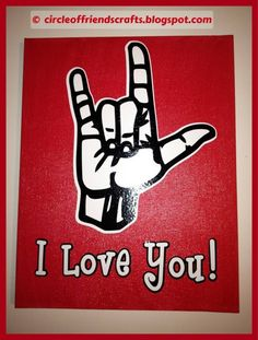 """I love you"" sign language canvas"