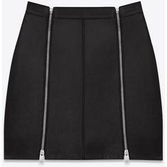 Saint Laurent Punk Zip Skirt ($1,675) ❤ liked on Polyvore featuring skirts, mini skirts, bottoms, saint laurent, genuine leather skirt, leather skirt, mini skirt, short leather skirt and punk rock skirts
