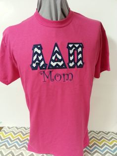 Order this today at www.leahbethdesigns.com Sorority Mom Shirt Appliqued Greek Letters with Embroidered Mom: Leahbethdesigns