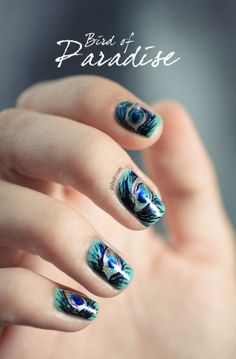 Dior Bird of Paradise Peacock nail art - this might be my favorite manicure I've ever seen