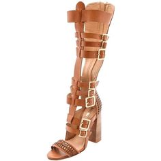 Pre-owned Schutz Yvone Knee-high Gladiator Brown Sandals ($262) ❤ liked on Polyvore featuring shoes, sandals, brown, greek sandals, brown sandals, caged sandals, braided gladiator sandals and roman gladiator sandals