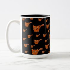 Shop Black & Orange Kitty Pattern Two-Tone Coffee Mug created by thepawkinglot. Cat Dad, Creature Comforts, Cute Pattern, Pet Shop, Morning Coffee, Photo Mugs, Colorful Backgrounds, Color Pop, Coffee Mugs