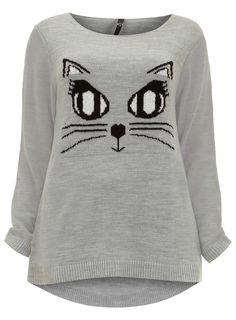 Photo 1 of Evans Grey Cat Eyes Motif Jumper