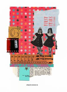 my day 358 collage (stars) :: vintage photo, scrap + decorative papers, text, film strip; glued.  #collage #design #papercollage