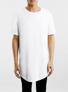 WHITE OVERSIZED LONGLINE T-SHIRT