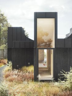 "WOJR envisions highly sculptural ""House of Horns"" for Northern California Black Architecture, Architecture Awards, Residential Architecture, Contemporary Architecture, Architecture Details, Rendering Architecture, Rendered Houses, Roof Shapes, Architect Magazine"
