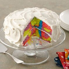 This tie dye cake is not difficult to prepare because you start with a cake mix and canned frosting. Get the cool colors with McCormick®...