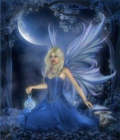blue moon fairy * Fairy Myth Mythical Mystical Legend Elf Faerie Fae Wings Fantasy Elves Faries Sprite Nymph Pixie Faeries Hadas Enchantment Forest Whimsical Whimsey Mischievous