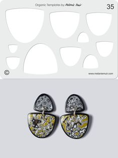 Organic Template No. 35 with Grey Lichen Earrings http://www.melaniemuir.com/tools/no-35-clear-acrylic-templatestencil