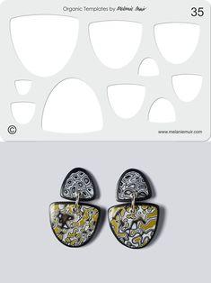 Organic Template No. 35 with Grey Lichen Earrings http://www.melaniemuir.com/tools/no-35-clear-acrylic-templatestencil