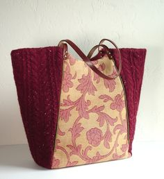 large shopper tote from upcycled sweater and upholstery fabric