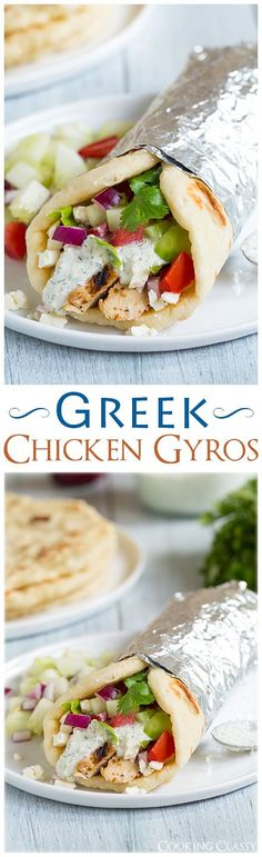 Gryos with Greek Chicken, Homemade Tzatzkiki and Pita Flatbread - these are one of my absolute favorite dinners! LOVE this recipe! #recipe
