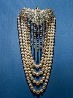 A diamond and pearl necklace by Cartier.