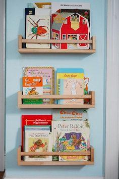 IKEA hackers: Use cheap Bekvam Spice rack as bookshelf Spice Rack Bookshelves, Bookshelves Kids, Spice Shelf, Ikea Spice Racks As Book Shelves, Ikea Childrens Bookshelf, Bookcases, Book Shelf Diy, Ikea Spice Rack Hack, Baby Bookshelf