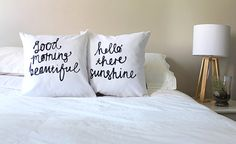 By popular demand, a new set of our best selling his and hers set with some fun new adjectives! These two lovely pillows say Hello There Sunshine