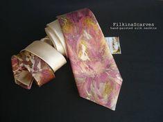 Mens tie Silk Necktie Hand Painted Creamy Tie pink Unique Mens tie Silk Necktie Hand Painted Creamy Tie pink Unique Ocher Wedding Birthday Fathers Gift for him Boss Batik Art Floral Luxury FS 120