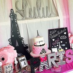 What a stunning Paris birthday party! See more party ideas at CatchMyParty.com!
