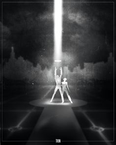 film noir style design of movie posters tron