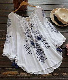 (not so sure about the amount of poly though) -Cupshe Ramble Tamble Tassel Embroidered Top Teen Fashion Outfits, Hijab Fashion, Boho Fashion, Fashion Dresses, Casual Dresses, Casual Outfits, Blouse Designs, Clothes For Women, How To Wear