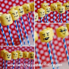 I haven't posted Cake Pop photos in awhile and thought it was time to get caught up! Lego Party Favors, Lego Themed Party, Lego Birthday Party, Boy Birthday, Birthday Parties, Lego Head Cake, Lego Cake Pops, Lego Cupcakes, Lego Cookies