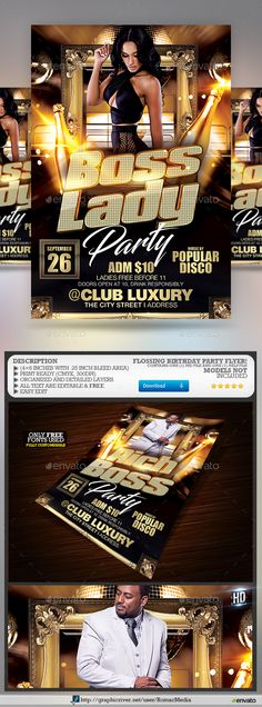Buy Boss Birthday Party Night by RomacMedia on GraphicRiver. Boss Birthday, Birthday Parties, Party Models, Flyer Template, Tie Template, Disco Club, Event Flyers, Karaoke, Flyer Design