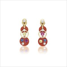 CORAL, MULTI-COLOURED SAPPHIRE AND DIAMOND PENDENT EARRINGS, BY BULGARI