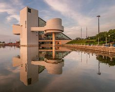 Such a cool building! The Rock and Roll Hall of Fame as reflected in the Northcoast Harbor in Cleveland, Ohio.