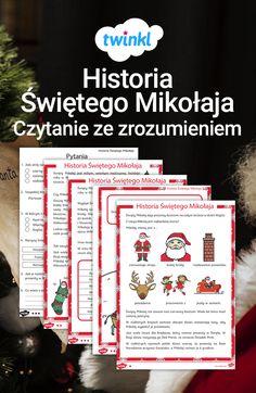 Święta już tuż, tuż, więc wprowadź świąteczną atmosferę do swoich lekcji dzięki tej pięknie ilustrowanej czytance! Dostępna w trzech poziomach trudności razem z arkuszem pytań i odpowiedzi, zawiera niezbędne informacje o ukochanym przez dzieci Mikołaju. Ho, ho, ho! #święta #bożenarodzenie #bozenarodzenie #swieta #mikolaj #mikołaj #czytanie #ze #zrozumieniem #czytanka #zima #grudzień #twinkl #materiały #darmowe #darmo Education, Christmas, Geography, Historia, Santa Clause, Xmas, Navidad, Noel, Onderwijs