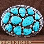 Native American Indian Turquoise And Genuine Sterling Silver Belt Buckle