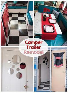 Vintage Trailer Remodel - Retro Trailer - This is SO cute! Love this glamper!! #diy #tutorial