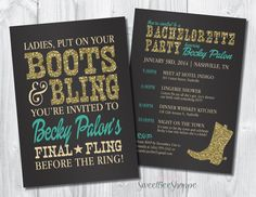 Country Western Bachelorette Party Invitation, Boots & Bling Bachelorette Invite, Saloon/Cowgirl Bachelorette Invite, Printable digital file by SweetBeeShoppe on Etsy https://www.etsy.com/listing/208462491/country-western-bachelorette-party