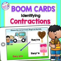 {FREEBIE} Teach 2nd grade Contraction skills with digital Boom Cards. Students identify the correct contraction spelling by moving frozen treats answers. Perfect as a literacy or word work center, review or enrichment. Boom Cards offer an easy way for teachers to assess mastery of word and vocabular...