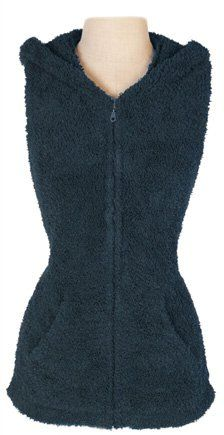 Barefoot Dreams Cozychic Sleeveless Hoodie, Color: Slate Blue, Size Small $94.95