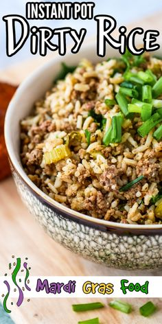 cajun food Easy recipe to celebrate Mardi Gras with your family! Instant Pot Dirty Rice is an easy one pot family dinner! This Cajun comfort food recipe is made with beef and rice and is ju Creole Recipes, Cajun Recipes, Rice Recipes, Rice Cooker Recipes, Instant Pot Dinner Recipes, Easy Dinner Recipes, Easy Meals, Rice Dishes, Tasty Dishes
