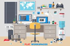 Office Room Interior Workplace by karnoff on Creative Market