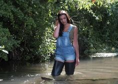 Sexy in black thigh waders