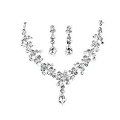 Hot Charm Crystal Bridal Necklace with Earring Rhinestone Plated Silver Jewelry Set for Wedding Party *** You can find more details by visiting the image link.-It is an affiliate link to Amazon.