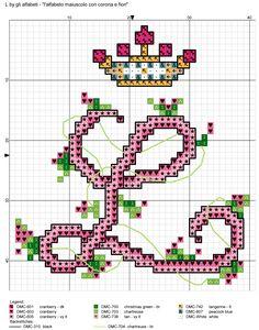 alfabeto maiuscolo con corona e fiori L