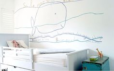 Delightful hand-painted mural in a kid's room by Jane Reiseger