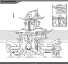 ArtStation - Architectural Design, G liulian Futuristic City, Futuristic Architecture, China Architecture, Architecture Design, Japanese Architecture, Environment Concept Art, Environment Design, Chinese Buildings, Building Drawing